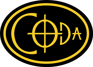 Coda EDC Flutes Logo: an oval surrounds the letters C, O, D, A. The O is shaped like the Coda symbol in music notation.